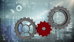 Gray and red gears. Digitally generated animation of gray gears being completed by a red gear and background shows different digital information and cityscape stock illustration