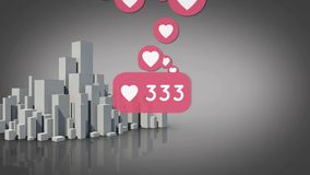 Heart icon and bars. Digitally generated animation of heart icons with increasing numbers and grey background shows 3d bar graphs stock illustration
