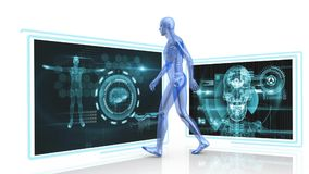 Human anatomy. Digitally generated animation of human anatomy walking while background shows two digital images of the body and head stock illustration