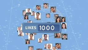 Like button and profiles. Digitally generated animation of a like button with increasing number and background shows diverse profiles of people arranged in a stock illustration