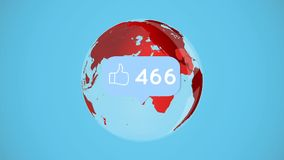 Like button and globe. Digitally generated animation of a like button with increasing numbers with a red globe rotating against a blue background royalty free illustration