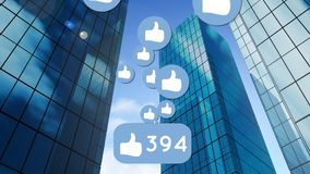Like icon and buildings vector illustration