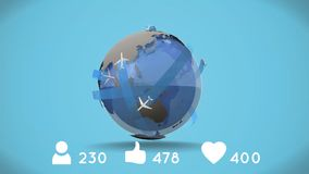 Planes in a globe. Digitally generated animation of planes circling a globe with social media icons with increasing numbers vector illustration