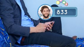 Profile icon and numbers. Digitally generated animation of a profile icon with a Caucasian man and increasing numbers while social media icons floats and royalty free illustration
