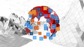 Globe and digital apps icons. Digitally generated animation of rotating globe with digital apps icons expanding while hovering over landscape graph maps royalty free illustration