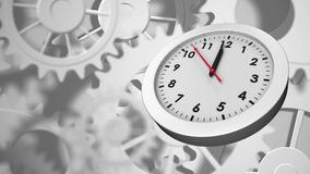 Gears and clock. Digitally generated animation of white clock with white moving gears in the background royalty free illustration