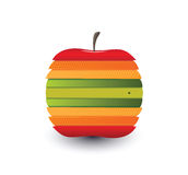 Digitally generated apple with different colour slices Royalty Free Stock Image