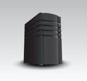 Digitally generated black server tower. On grey background Stock Photo