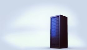 Digitally generated black server tower. Digitally generated server tower on white background Royalty Free Stock Images