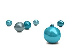Digitally generated blue christmas baubles Royalty Free Stock Photography