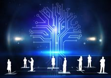Digitally generated of businesspeople standing against circuit board. Digitally generated of businesspeople standing against computer graphic stock photography