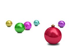 Digitally generated colourful christmas baubles Stock Photos
