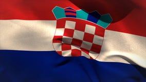 Digitally generated croatia flag waving stock footage
