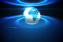 Digitally generated earth with blue light. On black background Royalty Free Stock Image