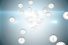 Digitally generated floating clock pattern Stock Images