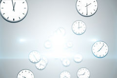 Digitally generated floating clock pattern Stock Image