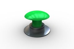 Digitally generated green push button Stock Image