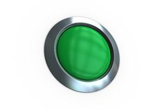 Digitally generated green push button Royalty Free Stock Photo
