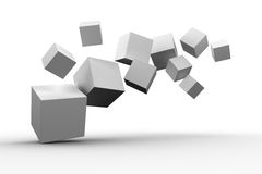 Digitally generated grey cubes floating. On white background Royalty Free Stock Photo