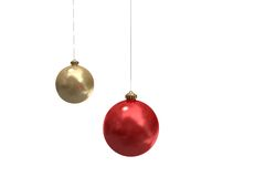 Digitally generated hanging christmas baubles Royalty Free Stock Photography