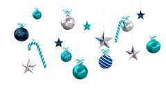 Digitally generated hanging christmas decorations Stock Photo