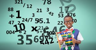 Digitally generated image of boy with numbers flying against green background. Digital composite of Digitally generated image of boy with numbers flying against Stock Photos
