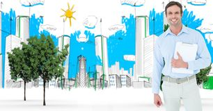 Digitally generated image of businessman with clipboard standing against buildings drawn in backgrou Royalty Free Stock Photography
