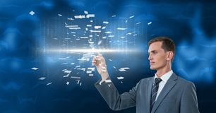 Digitally generated image of businessman touching futuristic screen Royalty Free Stock Images