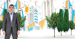 Digitally generated image of businessman with trees and buildings in background Stock Image