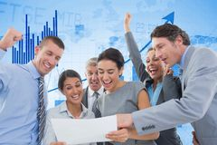 Digitally generated image of cheerful business people reading document with graph in background. Digital composite of Digitally generated image of cheerful Stock Image
