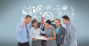 Digitally generated image of cheerful business people reading document with various icons in backgro stock illustration