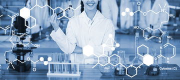 Composite image of digitally generated image of chemical structure. Digitally generated image of chemical structure against portrait of smiling schoolgirl in Stock Photo