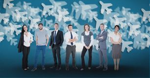 Digitally generated image of confident business people with airplanes flying in background Stock Photo