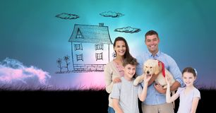 Digitally generated image of family and dog with house drawn in  sky Royalty Free Stock Photos