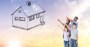 Digitally generated image of family gesturing on house drawn in sky Stock Photos