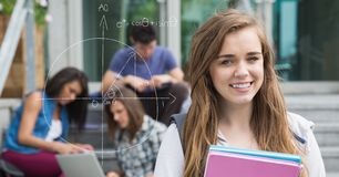 Digitally generated image of female college student by diagram with friends in background royalty free stock photo