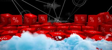 Composite image of digitally generated image of fluffy clouds. Digitally generated image of fluffy clouds  against various graphs and connectivity points Stock Photography