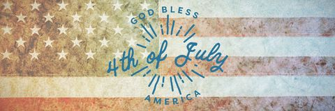 Composite image of digitally generated image of happy 4th of july message. Digitally generated image of happy 4th of july message against american national flag royalty free illustration