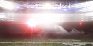 Digitally generated image of illuminated stadium Stock Photos