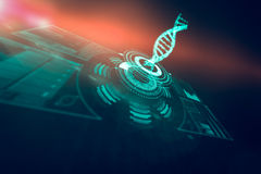 Digitally generated image of illuminated volume knob with dna strand 3d. Digitally generated image of illuminated volume knob with dna strand over black stock photos