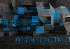 Digitally generated image of interface with binary numbers. Against dark background Royalty Free Stock Images