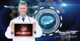 Digitally generated image of male doctor showing digital tablet against tech graphics. Digital composite of Digitally generated image of male doctor showing stock images
