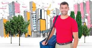Digitally generated image of male tourist with backpack against buildings drawn in background Royalty Free Stock Photography