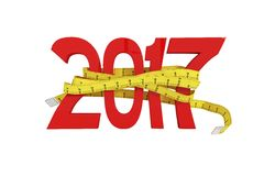 Digitally generated image of new year with tape measure Stock Images