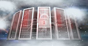 Digitally generated image of servers and icons in sky. Digital composite of Digitally generated image of servers and icons in sky Royalty Free Stock Images