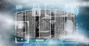 Digitally generated image of servers with various icons in sky Royalty Free Stock Images