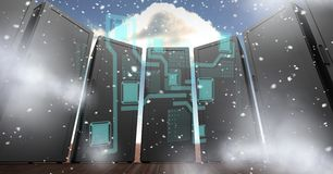 Digitally generated image of servers with various icons in sky. Digital composite of Digitally generated image of servers with various icons in sky Stock Photos