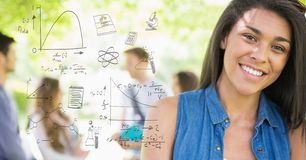 Digitally generated image of various equations with smiling female college student in background. Digital composite of Digitally generated image of various Royalty Free Stock Photo