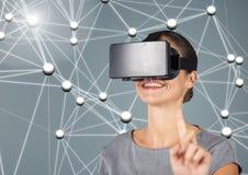 Digitally generated image of woman using virtual reality headset. Digitally generated image of smiling woman using virtual reality headset Stock Photo