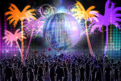 Digitally generated nightlife background. With people dancing and disco ball royalty free illustration